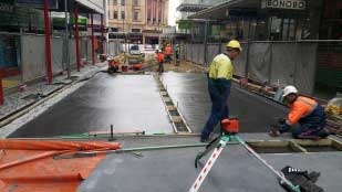 Pedestrian friendly Bank Street Adelaide with Panorama Concrete Paving